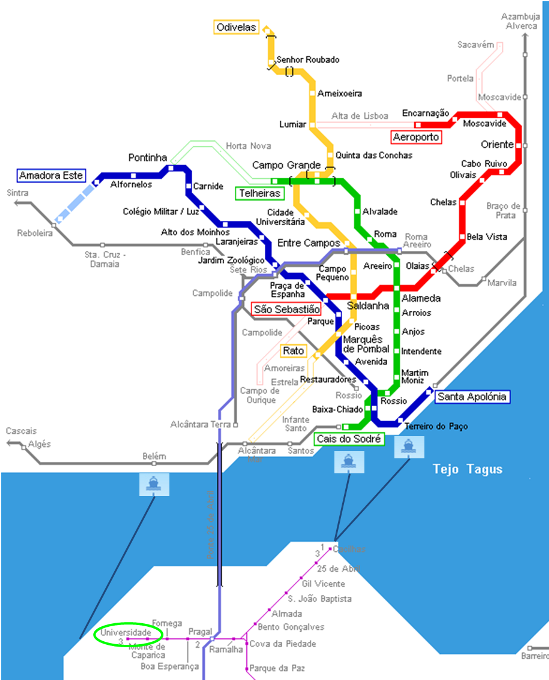 Subway Map Of Lisbon.Travel Enterface 13